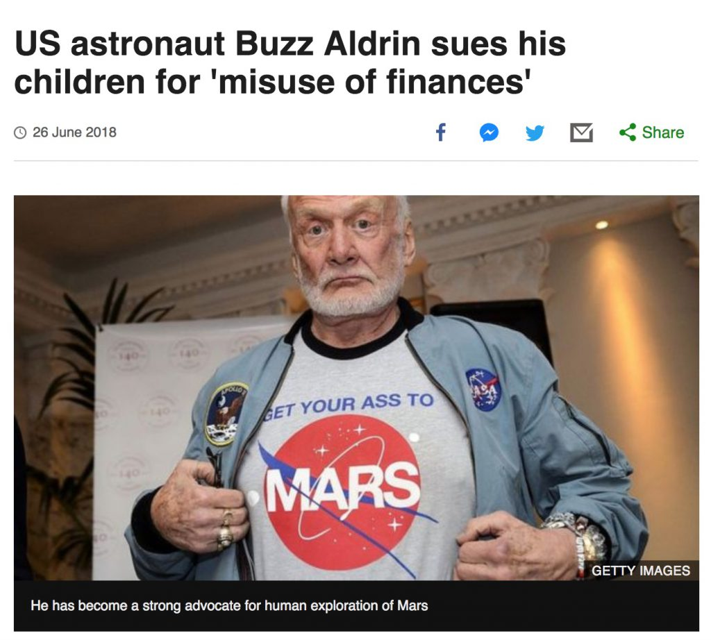 Buzz Aldrin, via the BBC