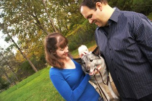 Andy and his wife Miranda alongside Dash The Wonder Dog.